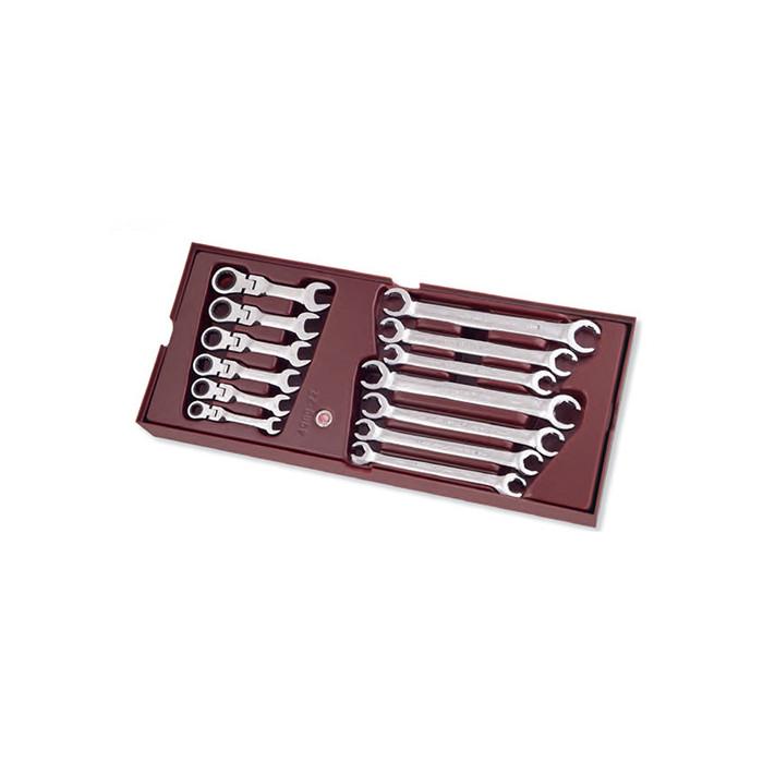 Clés à tuyauter + clés à cliquet articulées courtes-4900-22b - Outillage pour tiroir de