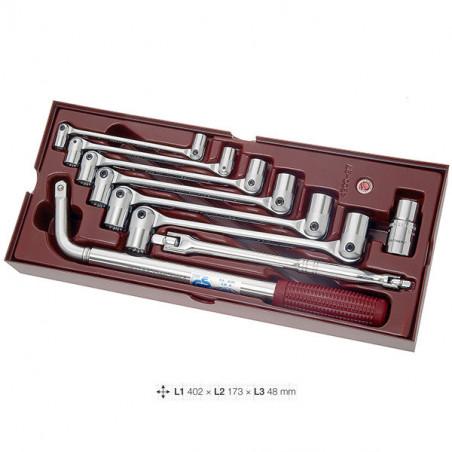 Coquille de 9 clés double-articulées-4900-27B - Outillage pour tiroir de servante-consogarage.com