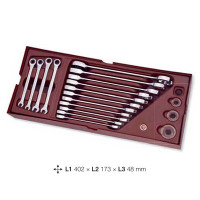 Coquille de 15 clés double cliquet-4900-40B - Outillage pour tiroir de servante-consogarage.com