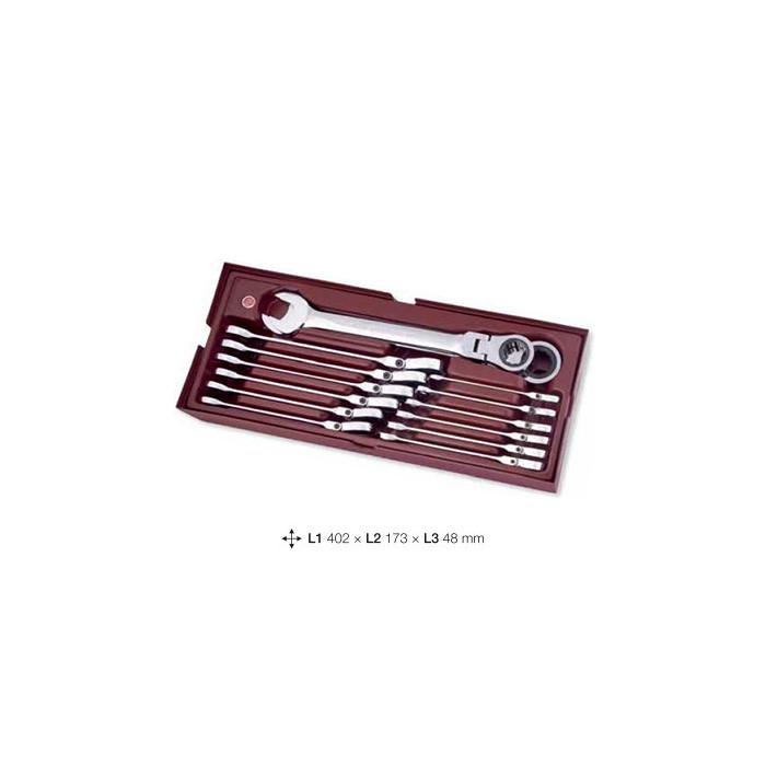 Coquille de 14 clés articulés à cliquet-4900-46B - Outillage pour tiroir de servante-consogarage.com