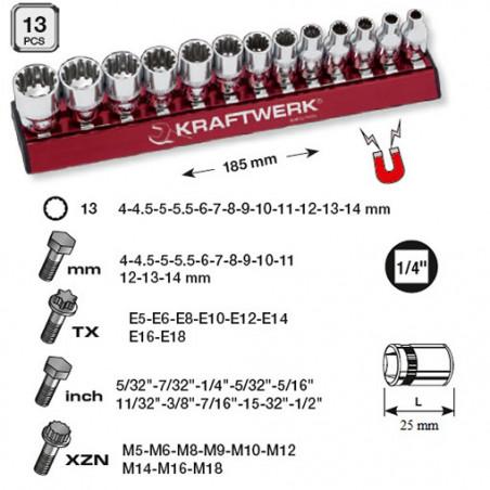 13 Douilles combi MagAlu de 4 à 14 mm-130990 - Clés - Douilles-consogarage.com