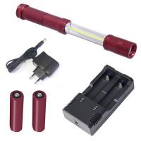 Lampe accu rechargeable 2+2 W COB-LED étanche-32020 - Eclairage-consogarage.com