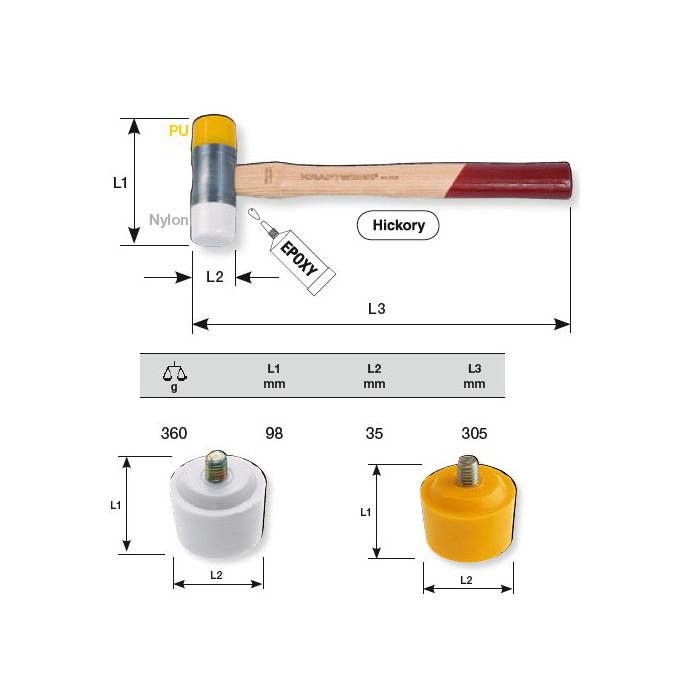 Massette à embouts adaptables 35 mm-2336 - Presse hydraulique - Étau - Marteau -
