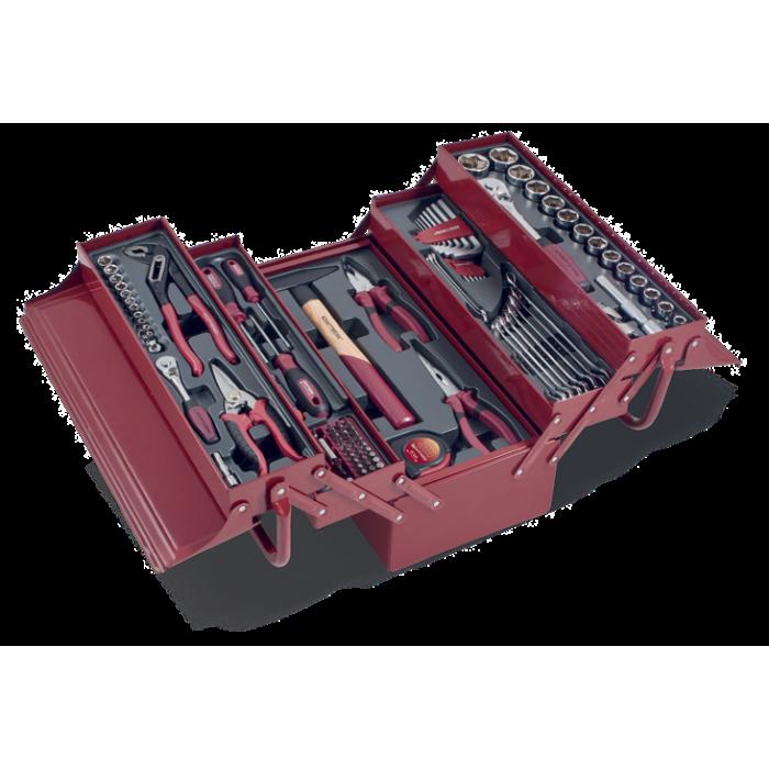 Caisse à outils métallique avec 106 outils universels-3036 - Mallette - Valise - Caisse à