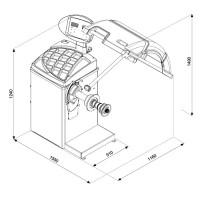 Dimensions de l'équilibreuse de roues CB67