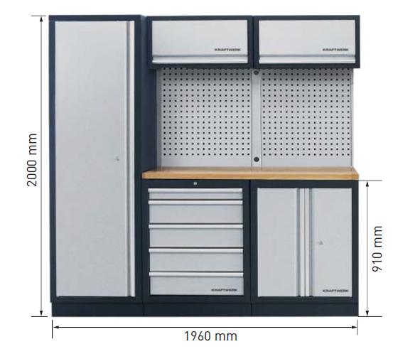 Dimensions du meuble d'atelier 3964A de Kraftwerk