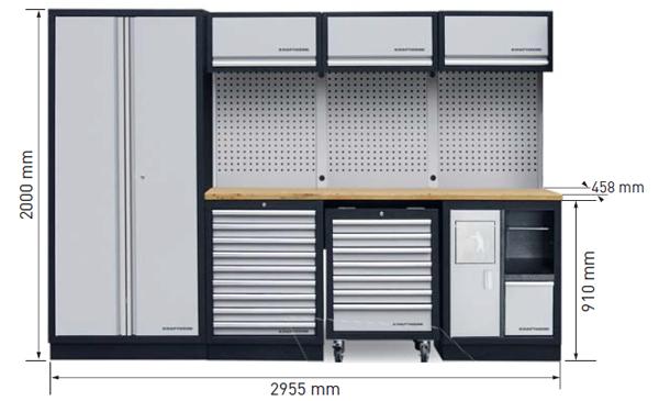 Dimensions du meuble d'atelier Kraftwerk