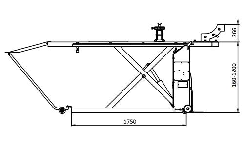 Dimensions du lift moto, vue latérale