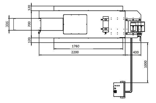 Dimensions du lift moto, vue supérieure